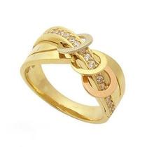Anel Elos Em Ouro Amarelo Branco E Rosé18k/750 E Diamantes !