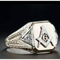Anel Maçonaria De Ouro 18k Maciço De Luxo Com Diamantes