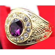 Anel Masculino Aro 25 Banhado Em Ouro Ametista Cristal 1655d
