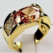 Anel Masculino Aro 25 Banhado Ouro 18k Pedra Laranja J1658b