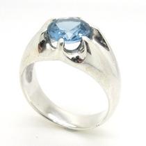 Anel Prata 925 Topazio Azul Cz E Coroa De 6 Garras - Ma2246t