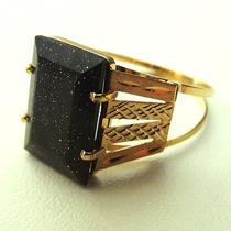 Anel De Ouro 18k Com Pedra Baguete Negra - Sedex Grátis