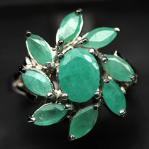 Natural! Esmeraldas Anel Prata 925 Banhado Ouro Magnifico