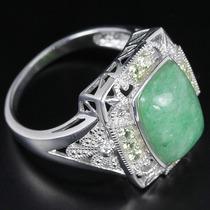Anel Em Prata 925 C/pedra Natural Jade Verde E Citrin Aro 22