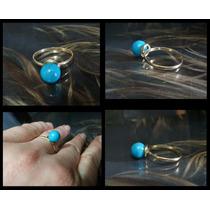 Hs Pedras - Anel Turquesa Azul 8mm E Ouro Cód73a135