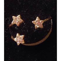 Anel Dourado 3 Estrelas Brilhantes Falsos Aro 14 Regulavel