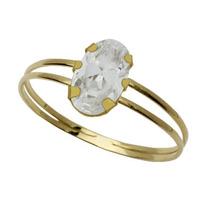 Anel Cálice Zircônia Oval Ouro18k - 0102991 - Leloeane