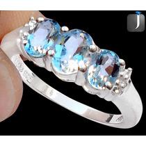 Baixou! Anel Prata Com Águas Marinhas E Diamantes - Aro 21