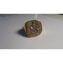 Anel De Pedra Drusa Geodo Semijoia Banho Ouro Quadrado Tam20