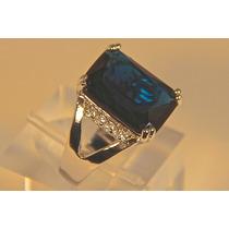 Rsp J3034 Anel A Ouro Qtz Azul Safira Sedex Grátis