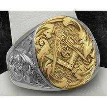 Anel Masculino Luxury Maçonaria Ouro18k E Prata 950