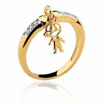 Anel Pingente Menino Em Ouro 18 Quilate E Diamantes