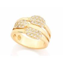Aneis Folheado A Ouro 18k Com Pedra De Zircônia
