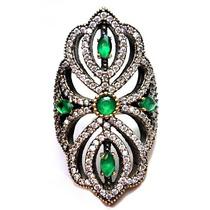 Fzq-anel Rendado Turquia Turco Prata 925 Esmeralda Zirconias