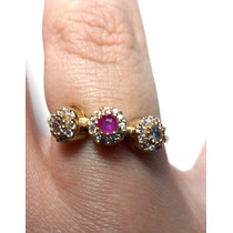 Jxz-anel Ajustavel Turq Turco Prata 925 Cristal Rubi Zirconi