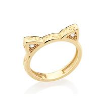Anel Ouro Folheado Formato Gato Com Zircônia Rommanel