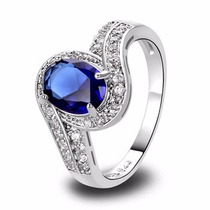 Anel Feminino Prata 925 Quartzo Azul Safira Aro 21