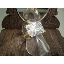 Anel Folheado Ouro 18k Com Cristal Zircônia Solitário Noiva