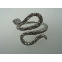 Anel Cobra De Ouro Branco 18k Com Diamantes J R Joalheiro
