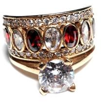 Lrj-anel Turquia Turco Prata 925 Cristal Granada Zirconias