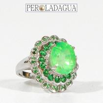 Lindo Anel De Esmeralda E Prata 925