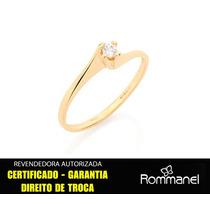 Anel Solitario Zirconia Feminino F/ 18k Ouro Rommanel 510516
