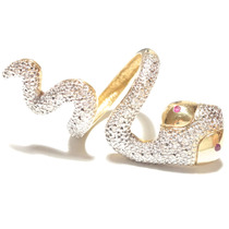 Diamantes Rubis Exuberante Anel Serpente Ouro18k 750!!!