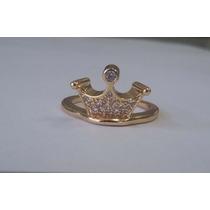 Anel Feminino De Coroa Dourada Banhado A Ouro 18k