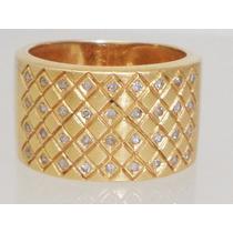 Boqueiraojoias Anel Grife Vivara 36 Diamantes Ouro 18k-750