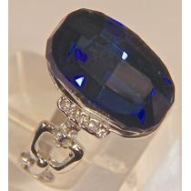 Rsp J3577 Anel Prata 925 Safira Azul Topázios Sedex Grátis