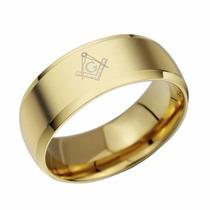 Anel Maçonaria Gold Titânio - Folheado Ouro - Frete Grátis!