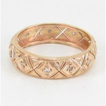 Esfinge Jóias- Anel Aliança Inteira Diamantes Aro15 Ouro 18k