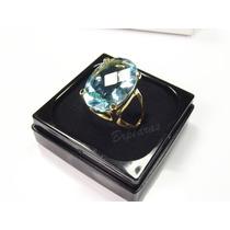 Anel C/ Pedra Grande Cristal Color Azul Agua Marinha B/ Ouro