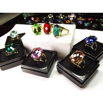 Anel Pedra Grande Cristal Color Varios Modelos B/ Ouro