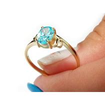 Anel Ouro Topázio Azul Ouro 18k-750 100% Ouro