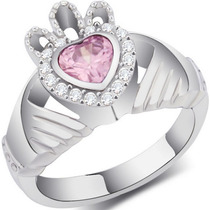 Anel Claddagh Great Pink Stone - Aço Cirúrgico 316 L Aro 12