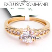 Rommanel Anel Aliança Solitario Nove 9 Zirconias 511652