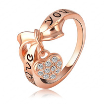 Anel Love You Ouro Rose 18 K Cristal Swarovski Noivado