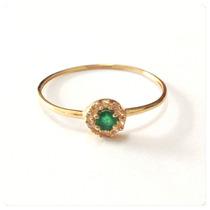 Joia Anel Esmeralda Pedra Indiana Natural Ouro18k Certificad