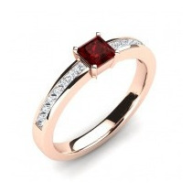 Anel Ouro 18k Rubi E Diamantes Ar22 - Cwb Joias