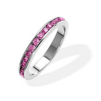 Bling Jewelry De Prata Turmalina Rosa Cz Birthstone Anel