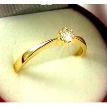 Anel Solitario Diamante Ouro Maciço 18k Brilhante Natural
