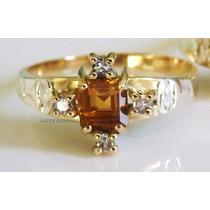 Anel Formatura Farmácia Ouro 18k Topázio Natural Diamantes