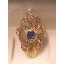 Anel Ouro 18 K Marquise Com Pedra Natural