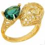 Lindo Anel De Prata 925 Com Cristal Esmeralda Russo- Ouro14