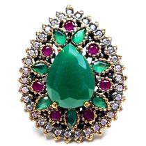 Hma-anel Turquia Turco Prata 925 Jade Rubi Esmeralda Zirconi