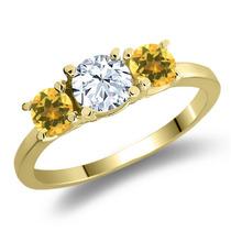 Anel De Ouro Amarelo Banhado Em Prata Com Topázio Branco
