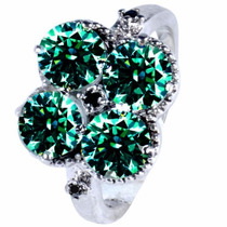 Anel Solitário Moissanite +2diamante Negro Verdadeiros Prata