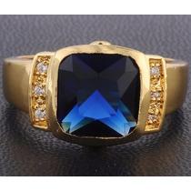 Anel Masculino Aro 25 Banhado Em Ouro 18k Pedra Azul J1631c