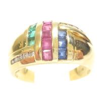 Attelierjoias Anel Ouro 18k 750 Diamantes/rubis/esme/safiras